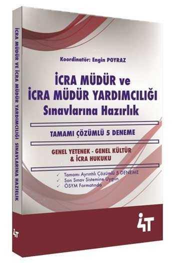 4T Yayınları İcra Müdür ve İcra Müdür Yardımcılığı Sınavlarına Hazırlık Tamamı Çözümlü 5 Deneme