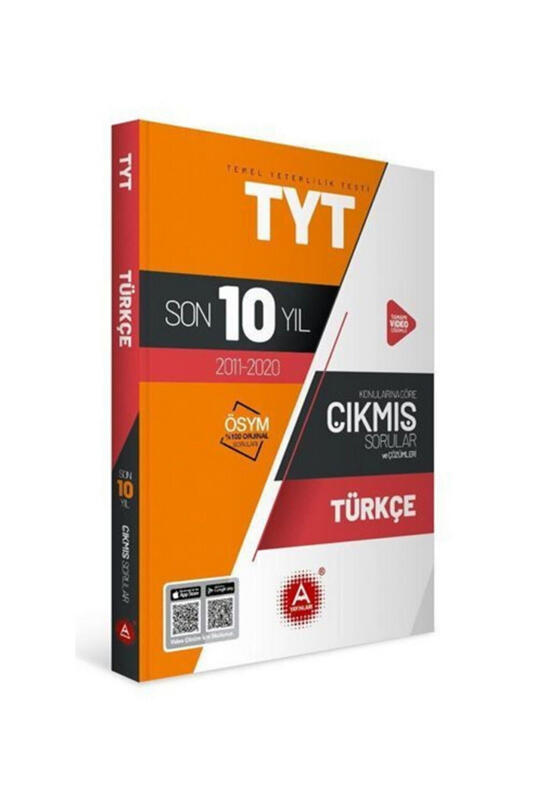 A Yayınları TYT Türkçe Son 10 Yıl Konularına Göre Tamamı Çözümlü Çıkmış Sorular