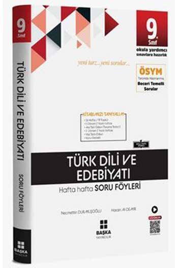 Başka Yayıncılık 9. Sınıf Türk Dili ve Edebiyatı Hafta Hafta Soru Föyleri