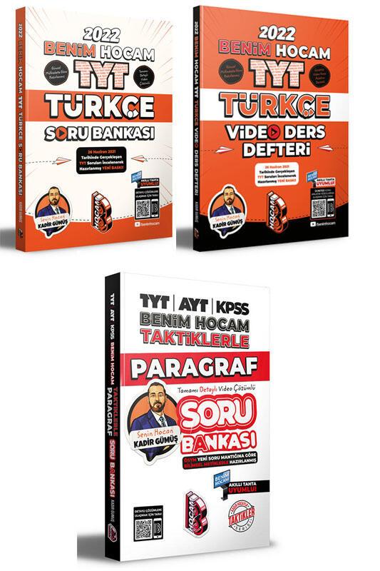 Benim Hocam Yayınları 2022 Türkçe Video Ders Defteri Soru Bankası ve Paragraf Soru Bankası Seti