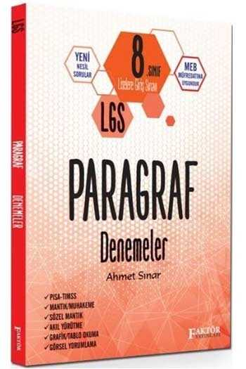 Faktör Yayınları 8. Sınıf LGS Paragraf Denemeler