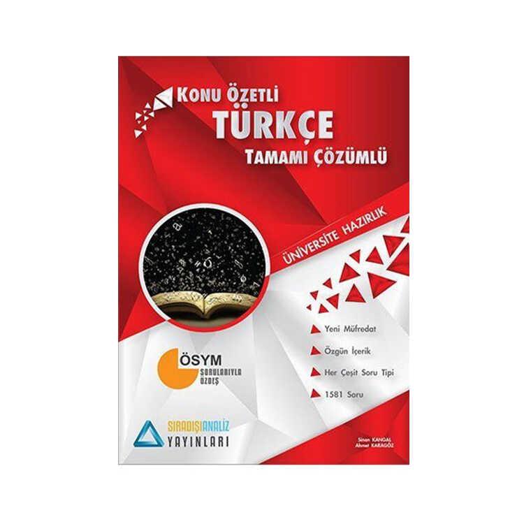 Sıradışıanaliz Yayınları TYT Türkçe Konu Özetli Tamamı Çözümlü Soru Bankası