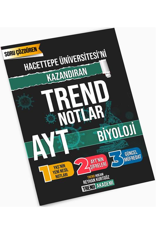 Trend Akademi Yayınları YKS AYT Biyoloji Hacettepe Üniversitesini Kazandıran Trend Notlar
