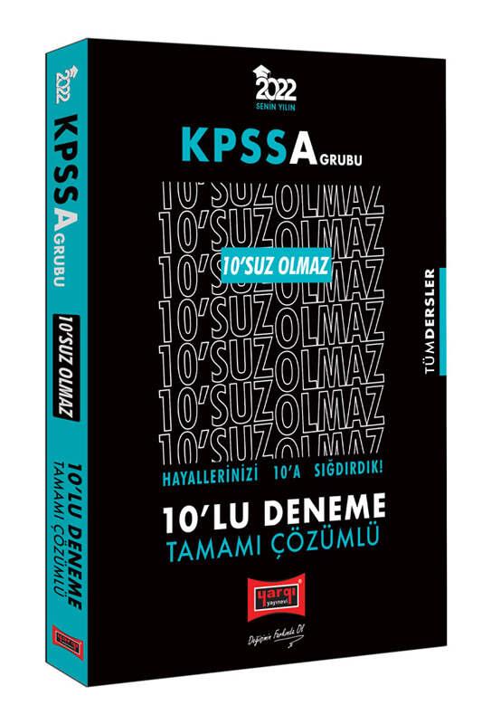 Yargı Yayınları 2022 KPSS A Grubu Tüm Dersler 10'SUZ Olmaz Tamamı Çözümlü 10'lu Deneme