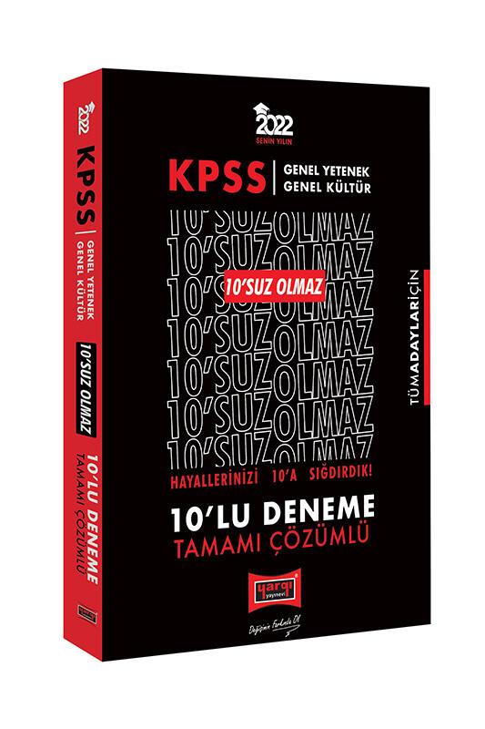 Yargı Yayınları 2022 KPSS GY GK 10'SUZ Olmaz Tamamı Çözümlü 10'lu Deneme
