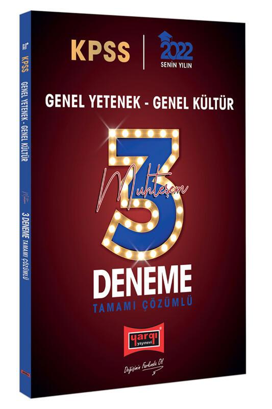 Yargı Yayınları 2022 KPSS GY GK Tamamı Çözümlü Muhteşem 3 Deneme