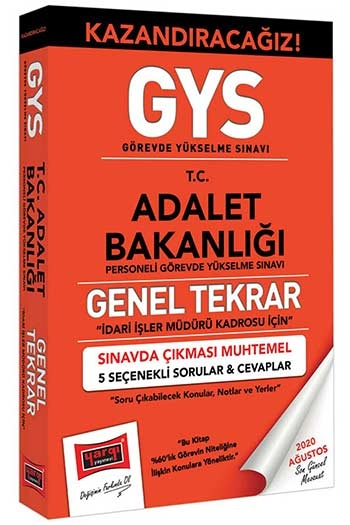 Yargı Yayınları GYS Adalet Bakanlığı İdari İşler Müdürü Kadrosu İçin Genel Tekrar Kitabı