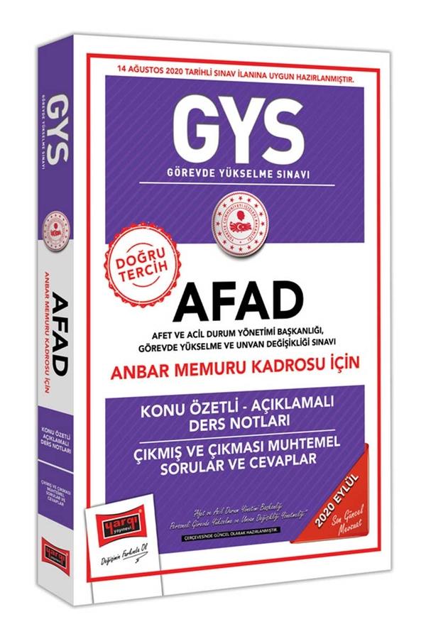 Yargı Yayınları GYS AFAD Anbar Memuru Kadrosu İçin Konu Özetli Çıkmış ve Çıkması Muhtemel Sorular