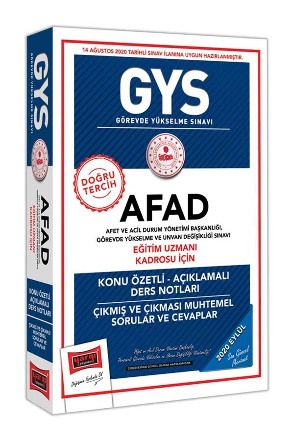 Yargı Yayınları GYS AFAD Eğitim Uzmanı Kadrosu İçin Konu Özetli Çıkmış ve Çıkması Muhtemel Sorular