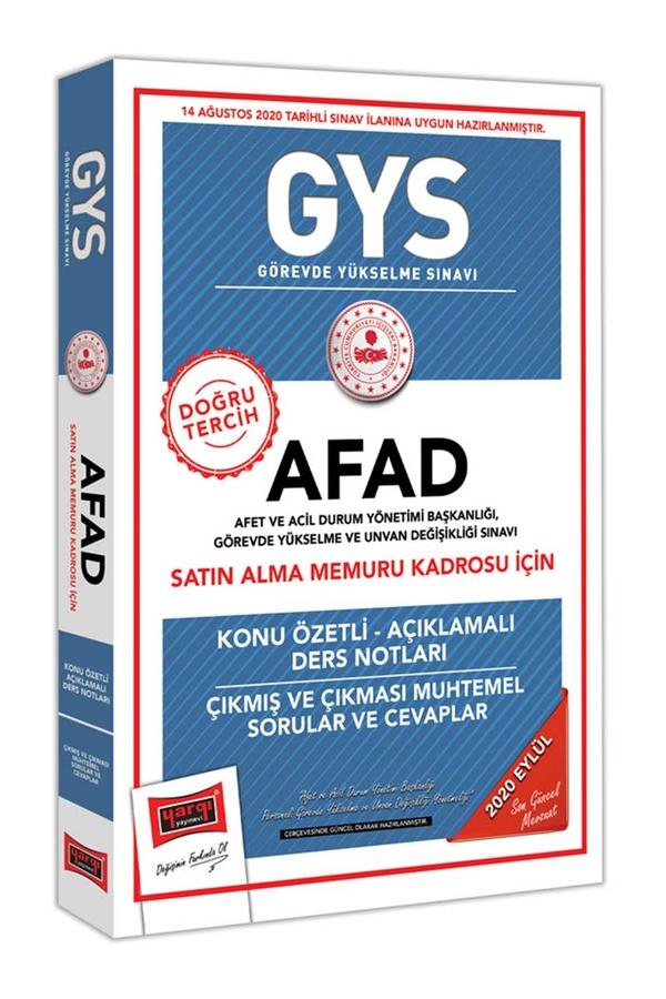 Yargı Yayınları GYS AFAD Satın Alma Memuru Kadrosu İçin Konu Özetli Çıkmış ve Çıkması Muhtemel Sorular