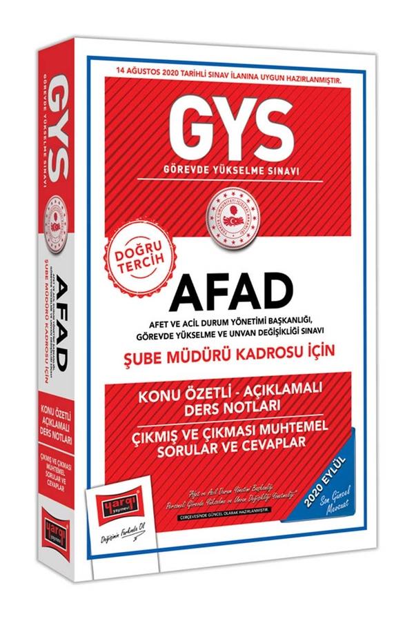 Yargı Yayınları GYS AFAD Şube Müdürü Kadrosu İçin Konu Özetli Çıkmış ve Çıkması Muhtemel Sorular