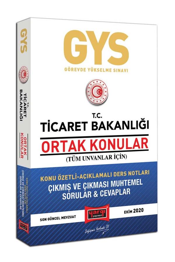 Yargı Yayınları GYS T.C. Ticaret Bakanlığı Ortak Konular Tüm Unvanlar İçin Konu Özetli Çıkmış ve Çıkması Muhtemel Sorular