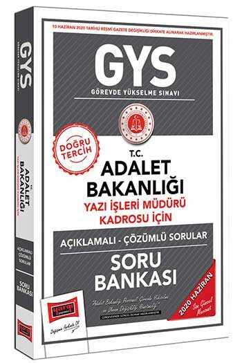Yargı Yayınları 2020 GYS T.C. Adalet Bakanlığı Yazı İşleri Müdürü Kadrosu İçin Açıklamalı Soru Bankası