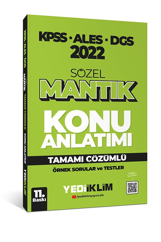 Yediiklim Yayınları 2022 KPSS ALES DGS Sözel Mantık Konu Anlatımı