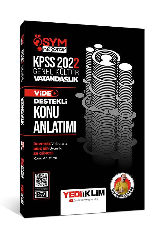 Yediiklim Yayınları 2022 KPSS Genel Kültür ÖSYM Ne Sorar Vatandaşlık Video Destekli Konu Anlatımı
