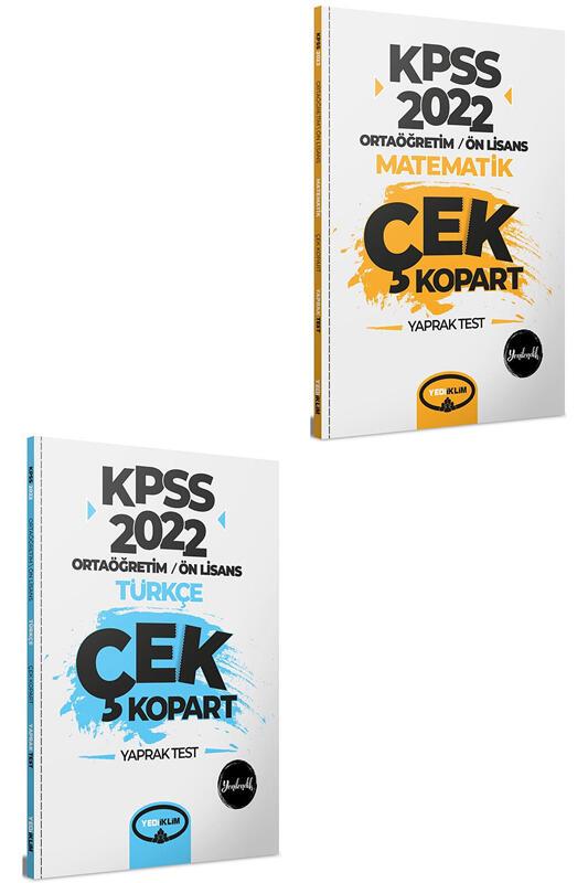 Yediiklim Yayınları 2022 KPSS Ortaöğretim Ön Lisans Genel Yetenek Yaprak Test Seti