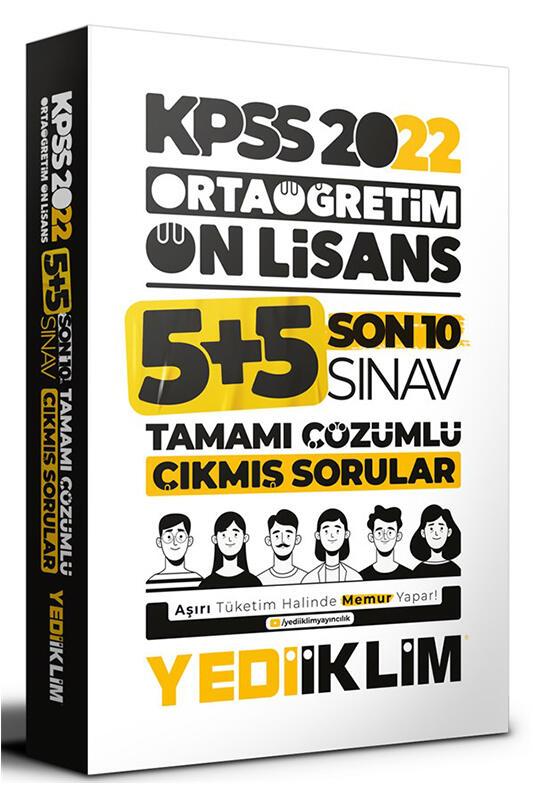 Yediiklim Yayınları 2022 KPSS Ortaöğretim Ön Lisans GY GK Son 10 Sınav Tamamı Çözümlü Çıkmış Sorular