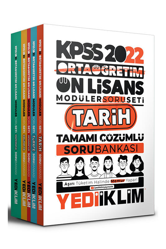 Yediiklim Yayınları 2022 KPSS Ortaöğretim Ön Lisans GY GK Tamamı Çözümlü Modüler Soru Bankası Seti